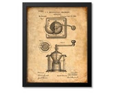 Coffee Mill Patent Print From 1885 - Art Print - Patent Poster - Kitchen Art - Kitchen Decor - Coffee Art - Coffee House