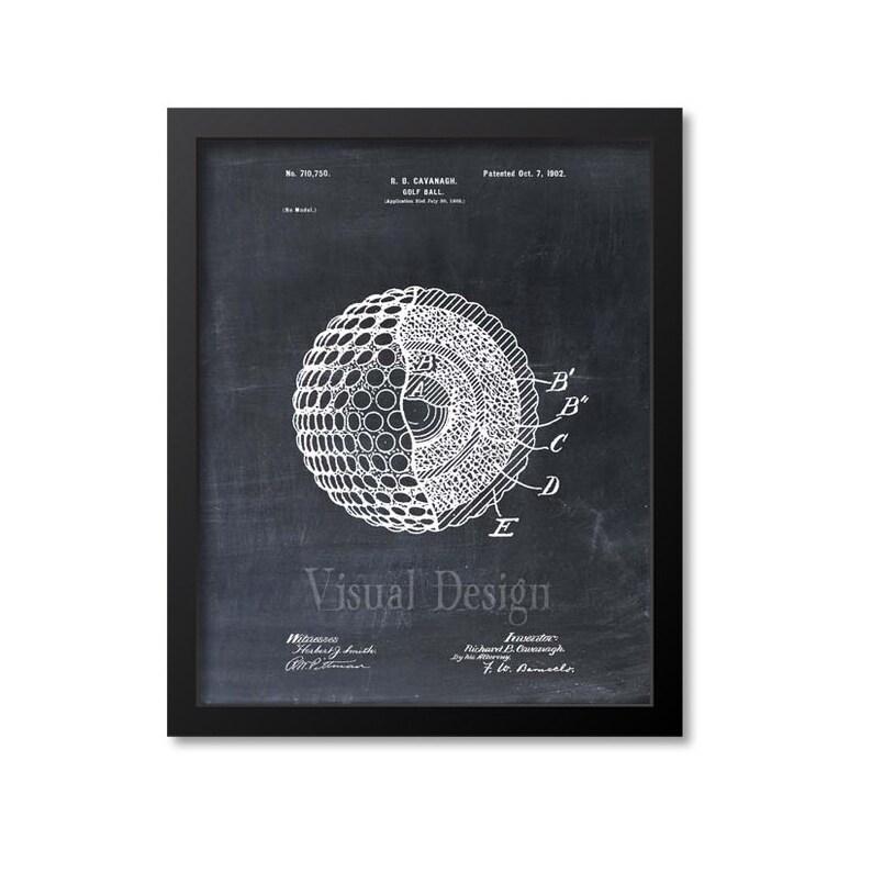 Golf Ball Patent Print Golf Ball Art Print Chalkboard