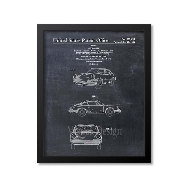 Porsche 911 Carrera Patent Print  Porsche Patent Art Print  Chalkboard