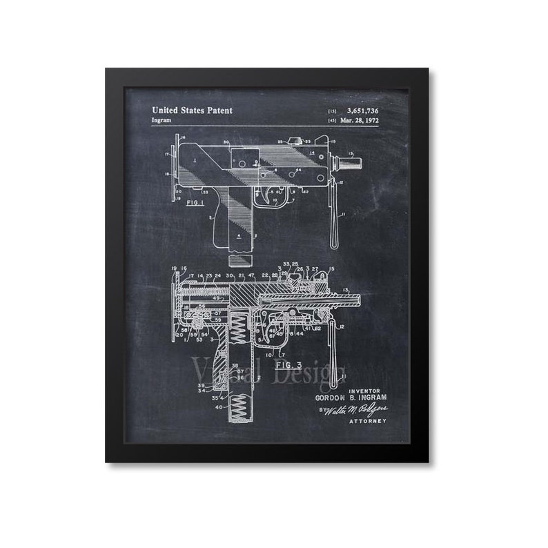 Mac-10 Uzi Patent Print - Patent Art Print - Patent Poster - Gun - Firearm  - Weapon