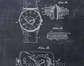 Push Button Time Zone Watch Patent Art Print Watch Patent Poster