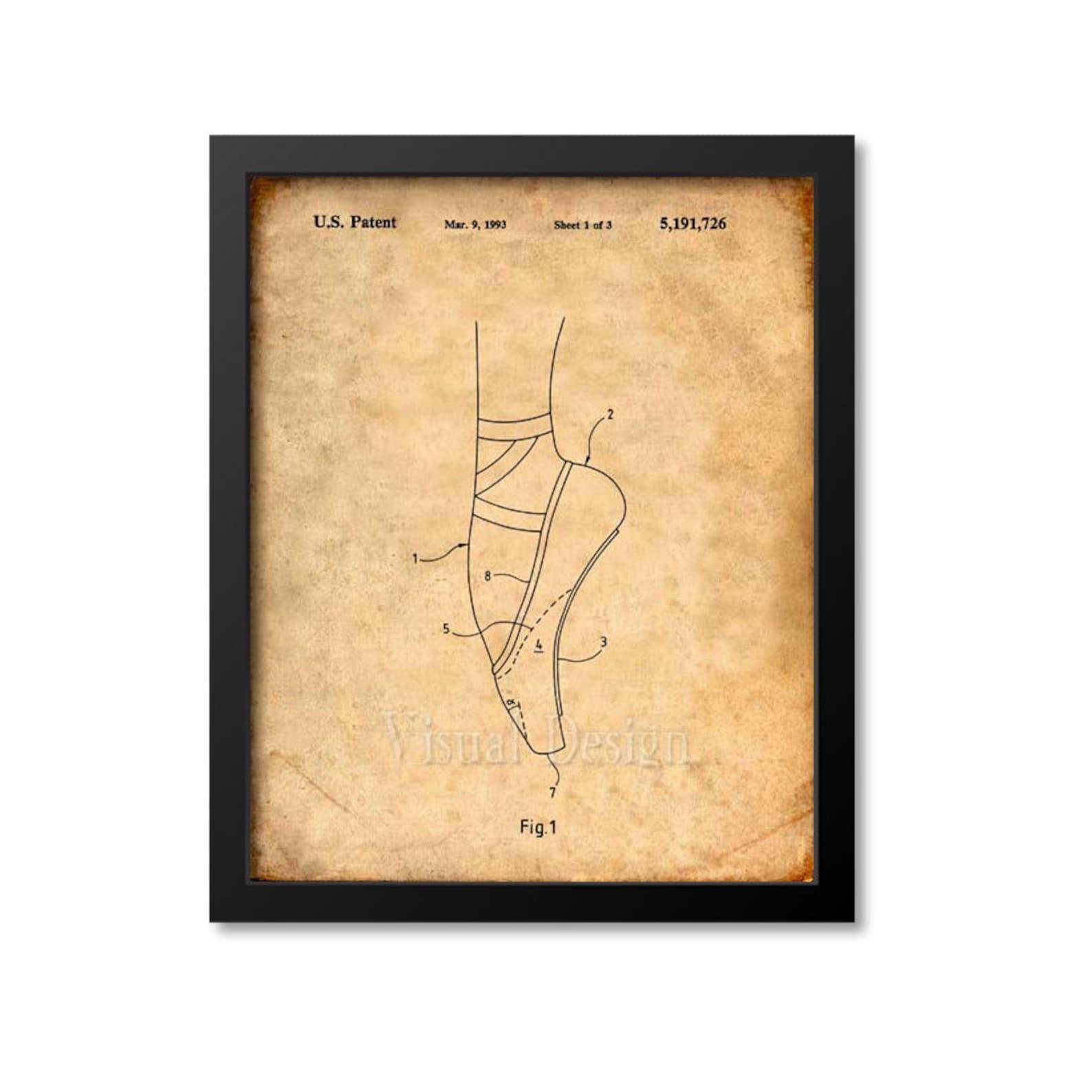 ballet slipper patent print, ballet slipper patent art, ballet poster, ballerina art, dance art print, dancer gift, ballet print