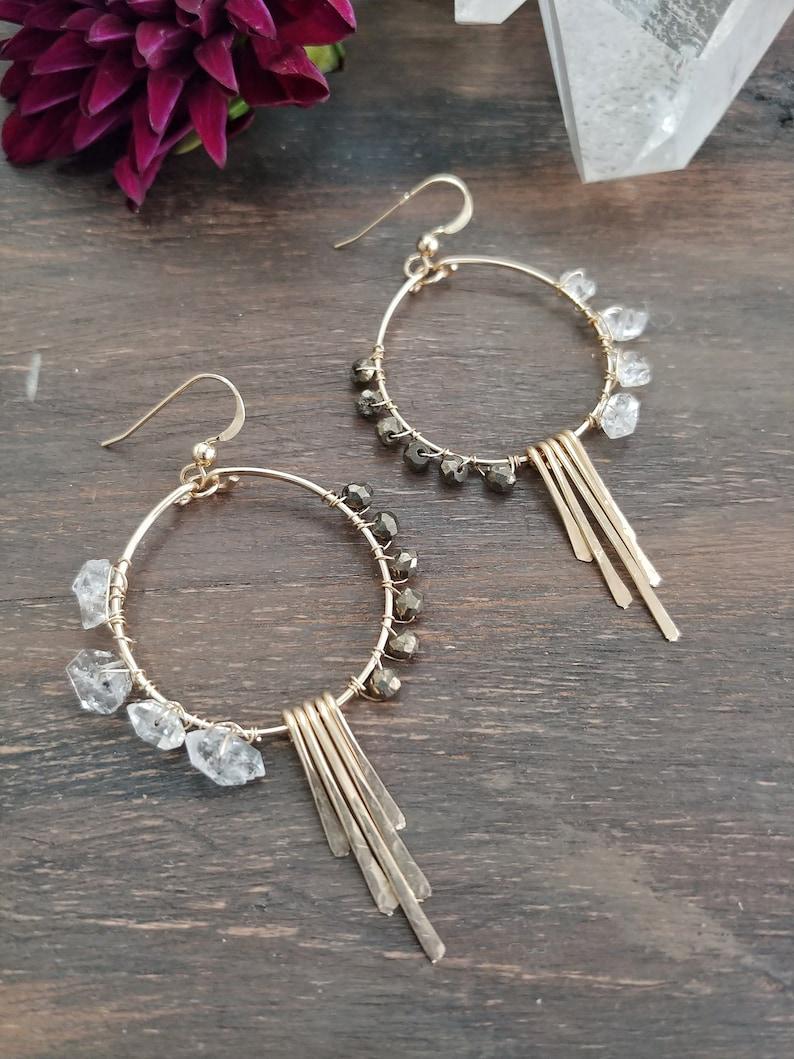 Sterling Silver Large Hoop Earrings Hammered Circle Fringe Earrings Herkimer Diamond Earrings Gold Filled