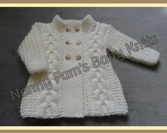 MADE TO ORDER Hand Knitted baby girls and toddlers Aran cardigan Ages 3-6 months upto 3 years