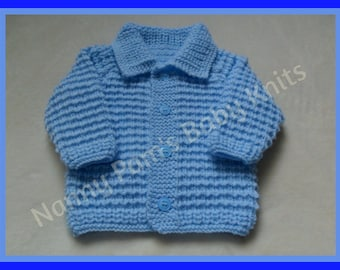 Made To Order Hand knitted baby boys cardigan Age 0-3 months upto 1-2 years