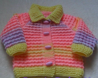 Made To Order Hand knitted baby girls cardigan Age 0-3 months upto 1-2 years