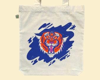 Natural Tiger Art Tote Bag, Screen Printed onto Organic Eco Friendly Cotton