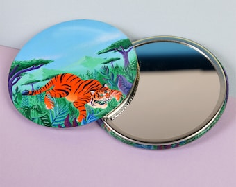 Tiger Pocket Mirror Compact, Original Art Illustration comes in Eco Sustainable Cotton bag 76mm, Jungle, Surreal, Unusual