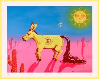 Donkey Illustration Print, Pink Low Brow Surreal Landscape Limited Edition A3, Original Artwork, Desert Sun, Cactus with Vibrant Colours