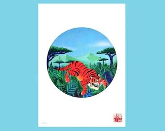 Tiger Illustration Print, Jungle A4 Giclee Fine Art Surreal Original Artwork