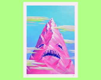 A3 Mountain Limited Edition Giclee Print, Surreal Art Illustration Pink, Blue, Vibrant, Colourful