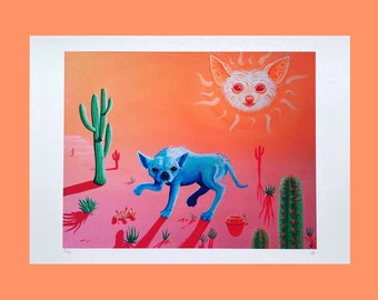 Surreal Dog Art Print, Cactus Hyena fantasy illustration in bright, contrasting colours, A3 pink and orange colourful