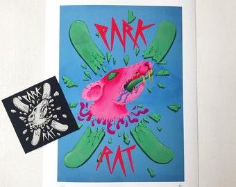 Park Rat Art Print Ski Illustration colourful snow sports artwork, original giclee print design