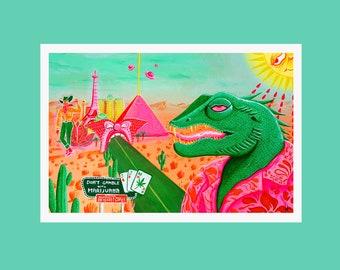 Reptile Zoo Print, Las Vegas Dystopia Artwork