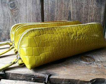 Kit leather croco mustard