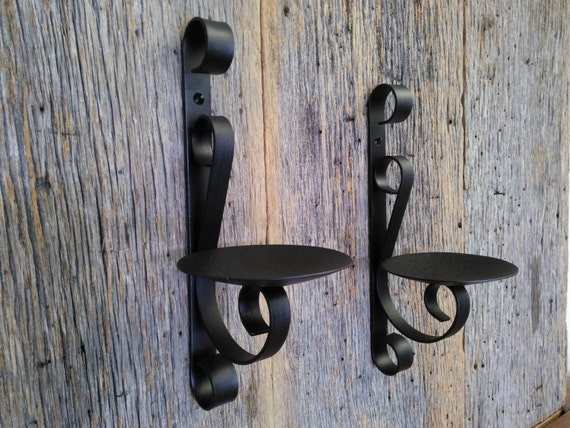 Two metal candle wall sconce rustic black wrought iron ...