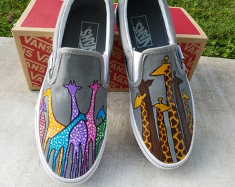 0c986ed544c Colorful Giraffe hand painted shoes