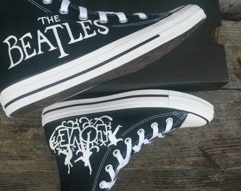 daf0bb58ead5 The Beatles Love high top Black Converse hand painted custom shoes