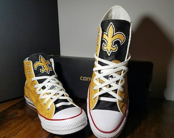 d95e35f55134 Custom made football fanatic hand painted converse saints black and gold  shoes