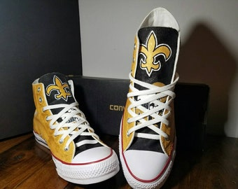 c4d0154a18f6 Custom made football fanatic hand painted converse saints black and gold  shoes