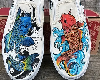 Japanese Koi Fish with tribal design vans slip on hand painted custom shoes 22c5fb48527d