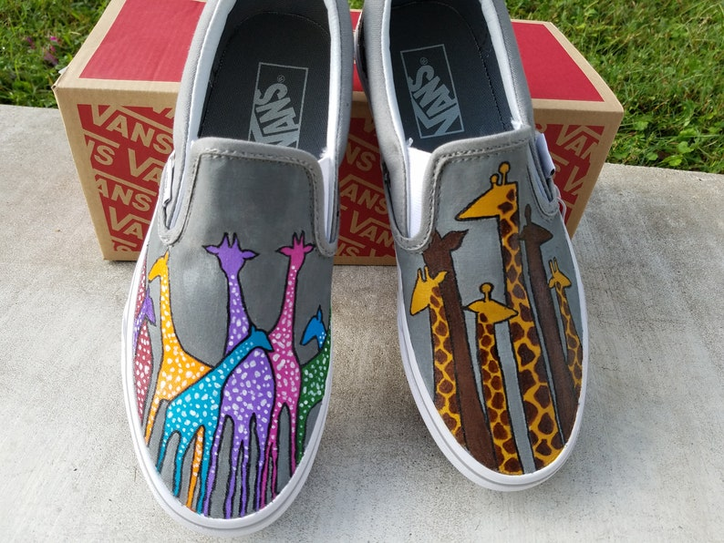 5c3d0e8251ccd Colorful Giraffe hand painted shoes, zoo animal in vans shoes