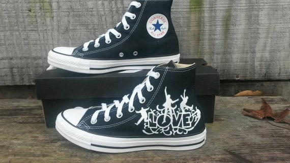 LOVE high top Black Converse hand painted custom shoes