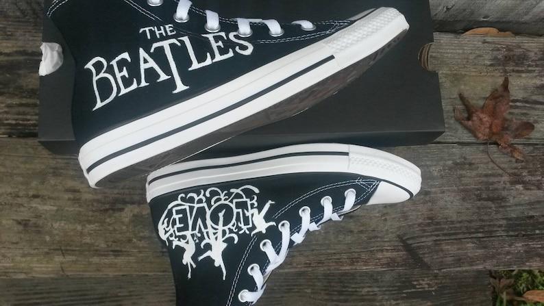 b71d1be989269b The Beatles Love high top Black Converse hand painted custom