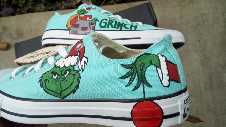 new concept b8352 5be45 The grinch Dr. Seuss hand painted converse shoes christmas   Etsy