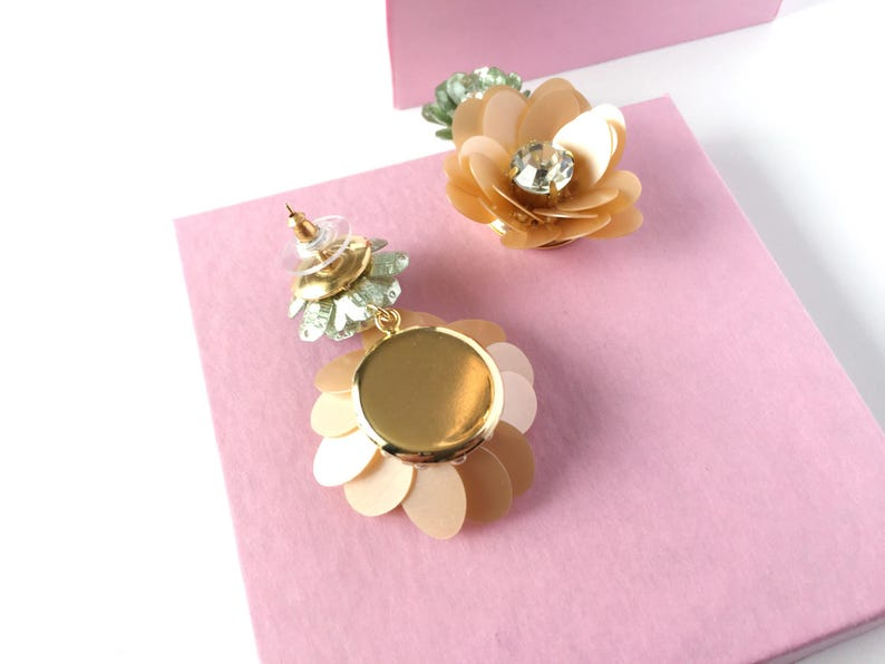 flower earrings sequin jewelry bridesmaids Sequin flower drop earrings bridal accessories floral earrings couture