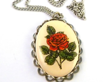 Vintage Red Rose Necklace, Rose Necklace, Rose Pendant And Necklace, Flower Necklace.