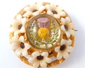 Vintage Scottish Brooch, Reverse Carved Lucite Thistle, Celluloid And Rhinestone Flower Brooch.