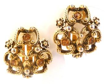 Vintage Earrings,  Ornate Rhinestone Set Floral Design Clip Ons By Elizabeth Reimer Arcansas, 60s Jewellery