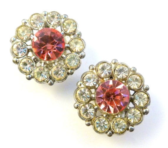 Pink and Carved Watermelon Stone Long Dangly Rhinestone Clip Earrings