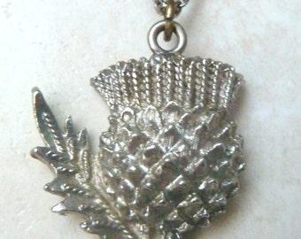 Vintage Scottish Necklace, Thistle Flower, Pendant And Necklace.