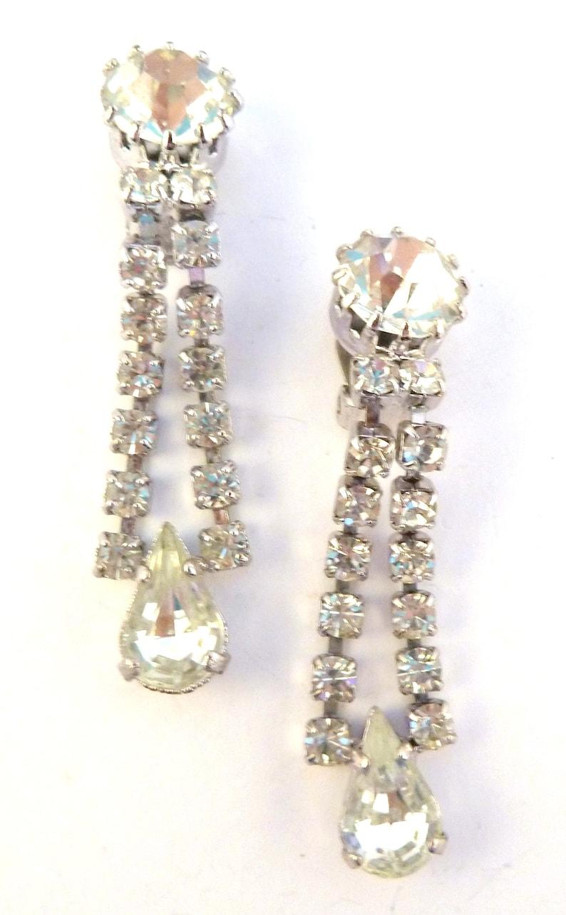 80/'s Earrings Rhinestone Earrings Vintage Art Deco Revival Style Rhinestone Drop Clip On Earrings