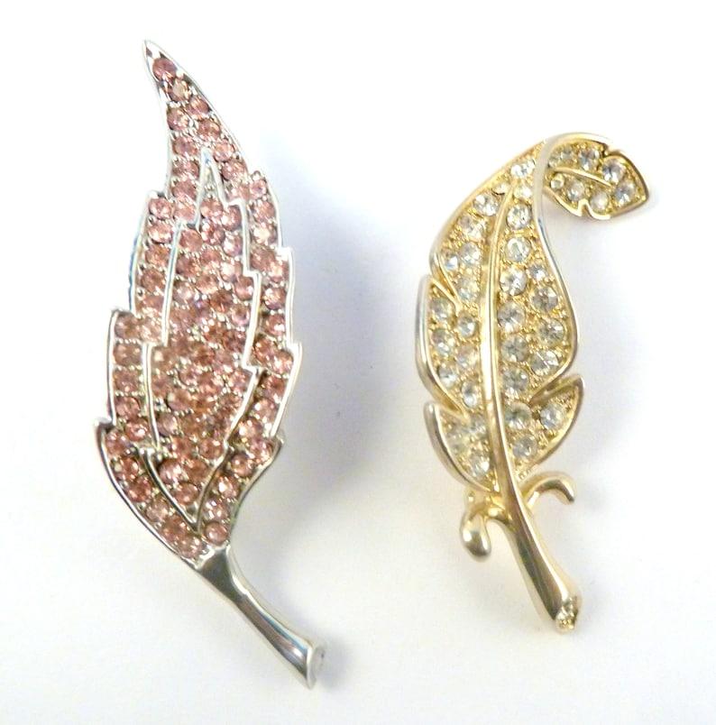 Set Of Two Pink And White Rhinestone Leaf Style Brooches. Statement Vintage Rhinestone Leaf Pins