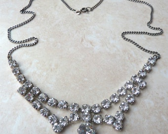 Vintage Silver Necklace, Sterling Silver,  Art Deco Style,  Crystal Necklace.