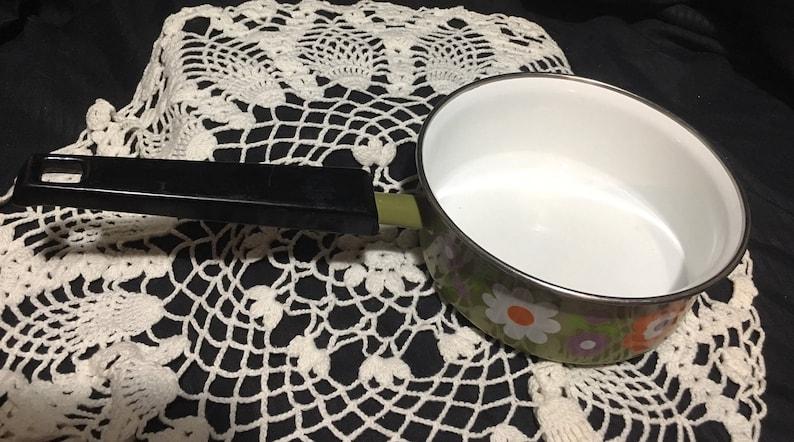 avocado green retro flowers sauce pan pot purple white orange mid century mod cookware enamelware Vintage Enamel Saucepan