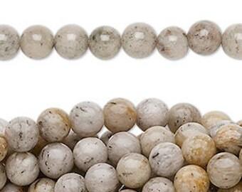 "grey feldspar natural 6 mm bead 16"" strand"