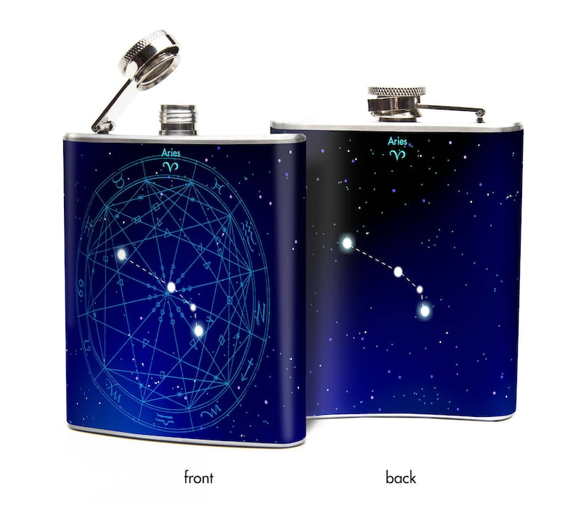 Whiskey Flask Astrology Birthday Gift Astrology Aries Flask Stainless Steel Flasks Zodiac Constellation Zodiac