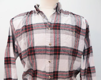 90's Red White Black Vintage Flannel Long Sleeved Shirt LARGE
