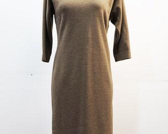60's Sheath Dress Brown Wool Vintage Mod Warm Classy Basic Knit Dress SMALL / MEDIUM