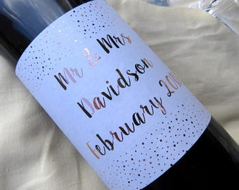 Custom REAL Foil Wine Bottle Labels | Perfect for Weddings | Milestones | Birthdays | Congratulations | Newly Weds | Bridal | Parties