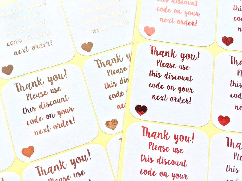 02858c7bf50 Discount Code Square Sticker - Thank you! Please use this discount code on  your next purchase! - Perfect for small businesses