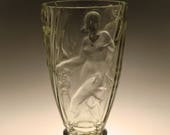 Bohemian Czech Significant Art Deco Glass Pressed Vase with Dancing Girls