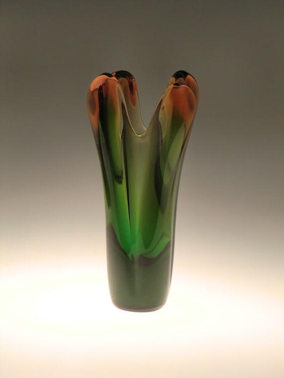 Bohemian Czech Skrdlovice Sommerso Art Glass Vase