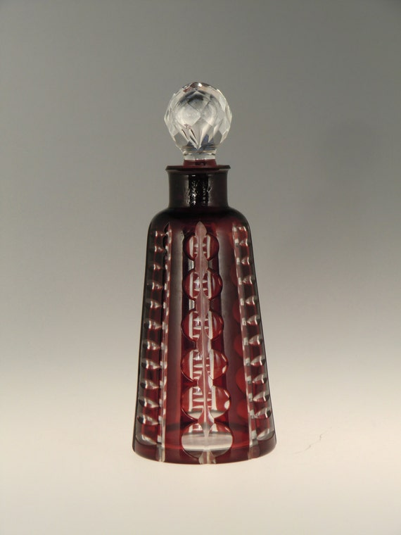 Antique Czech Art Deco Ruby Glass Vanity Set Signed Hlousek 1930 Perfume Bottle Antiques