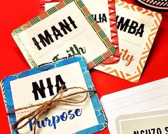Kwanzaa Card Deck / Children flash cards / Kwanzaa / Karamu / African American Holiday /Umoja, Kuumba, Ujima, Ujamaa, Nia, Imani