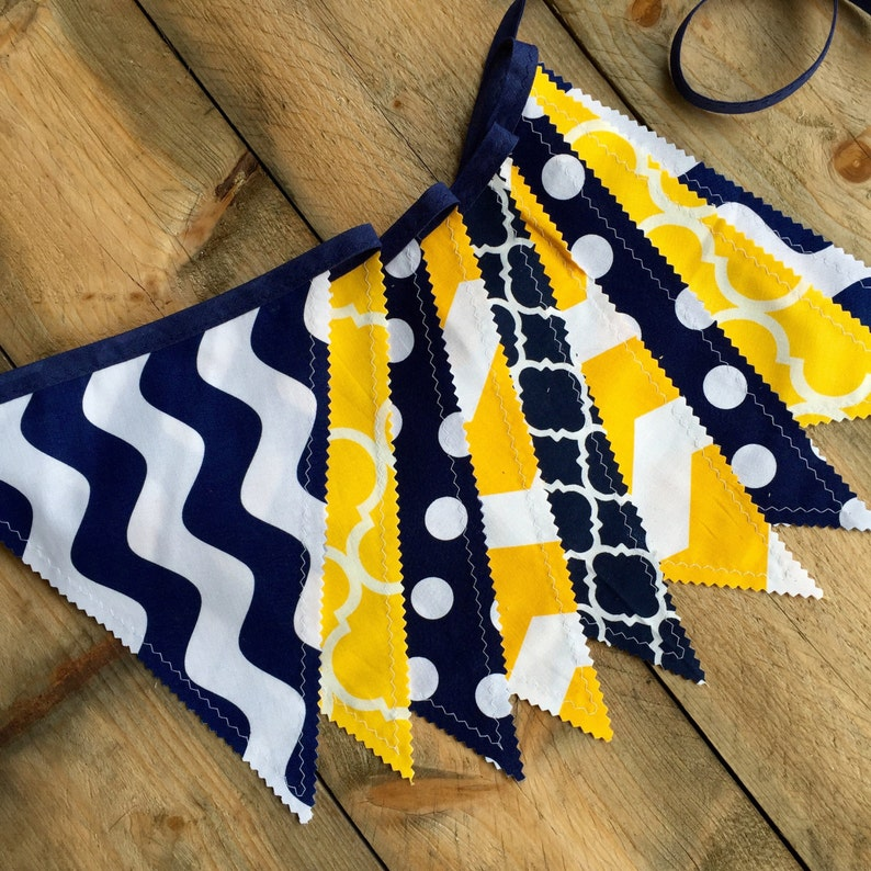 College Tailgate Graduation Party Decor blue flag bunting classroom decor gold fabric banner tailgate decor blue fabric banner